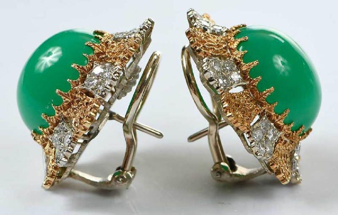 14kt. Chrysoprase and Diamond Earrings - 3