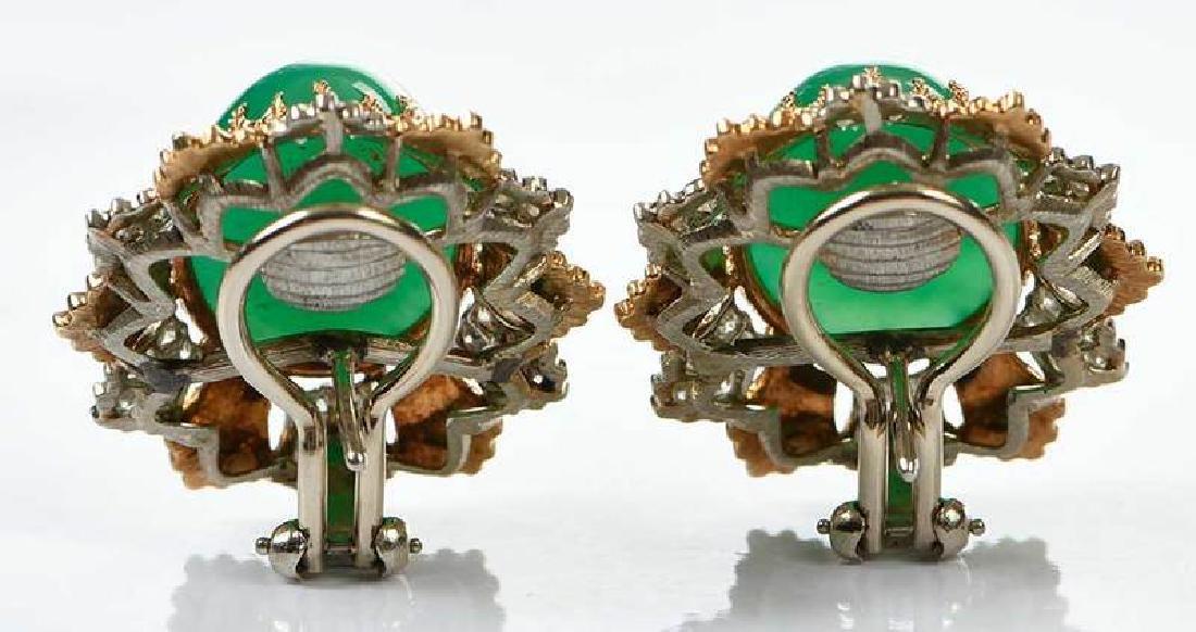 14kt. Chrysoprase and Diamond Earrings - 4