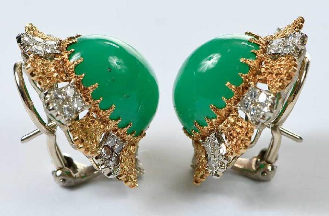 14kt. Chrysoprase and Diamond Earrings - 5
