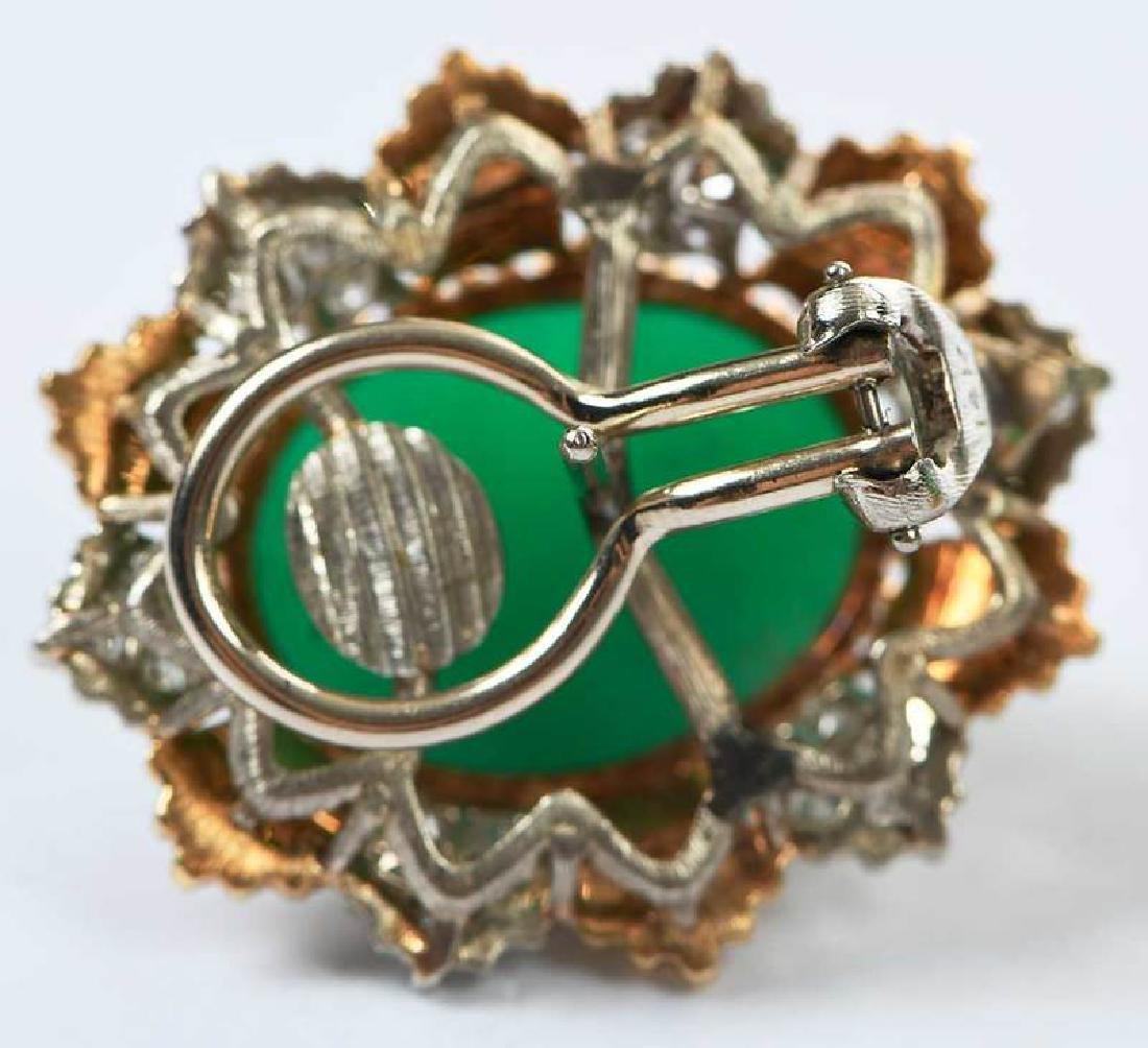 14kt. Chrysoprase and Diamond Earrings - 6