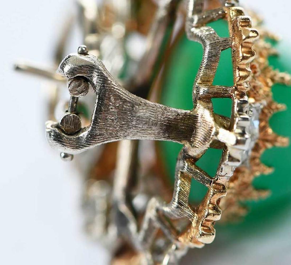 14kt. Chrysoprase and Diamond Earrings - 7