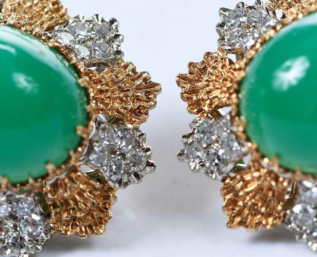 14kt. Chrysoprase and Diamond Earrings - 9