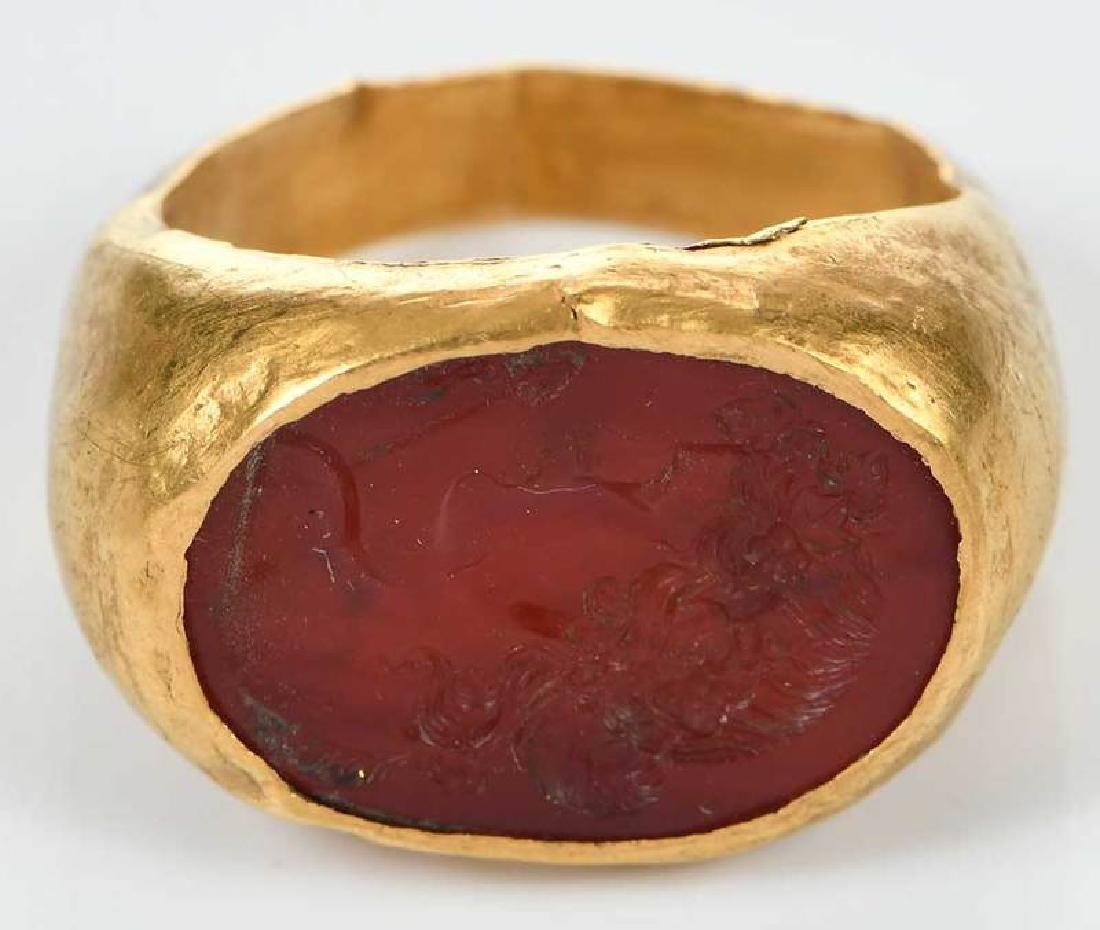 Ancient Roman Carnelian Intaglio Ring - 2