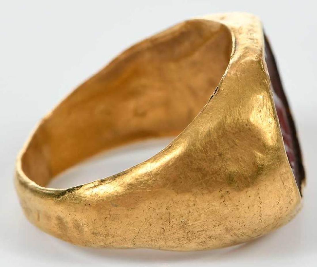 Ancient Roman Carnelian Intaglio Ring - 5