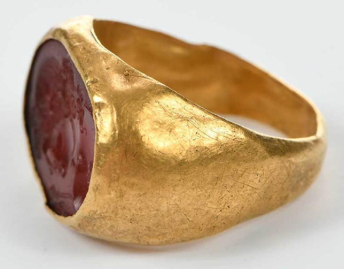 Ancient Roman Carnelian Intaglio Ring - 7