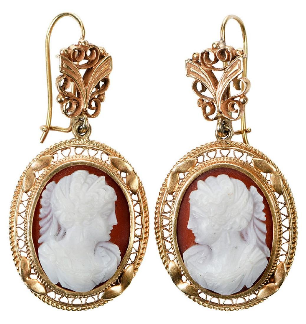 Antique 14kt. Cameo Earrings