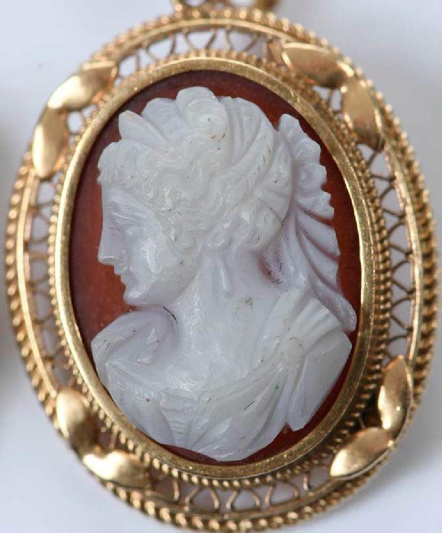 Antique 14kt. Cameo Earrings - 3