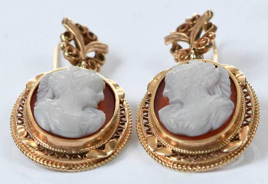 Antique 14kt. Cameo Earrings - 5