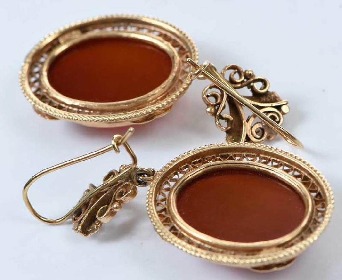Antique 14kt. Cameo Earrings - 6