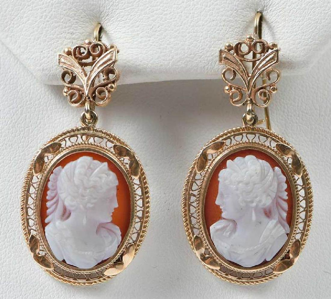 Antique 14kt. Cameo Earrings - 7