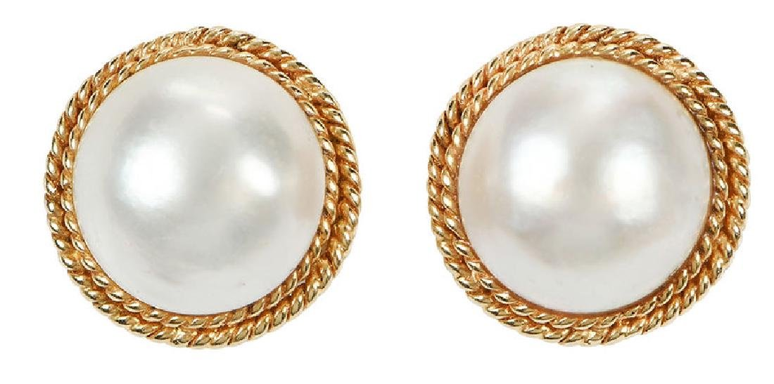14kt. Mabe Pearl Earrings