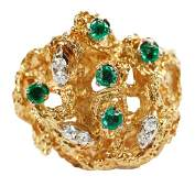 18kt Diamond and Emerald Ring