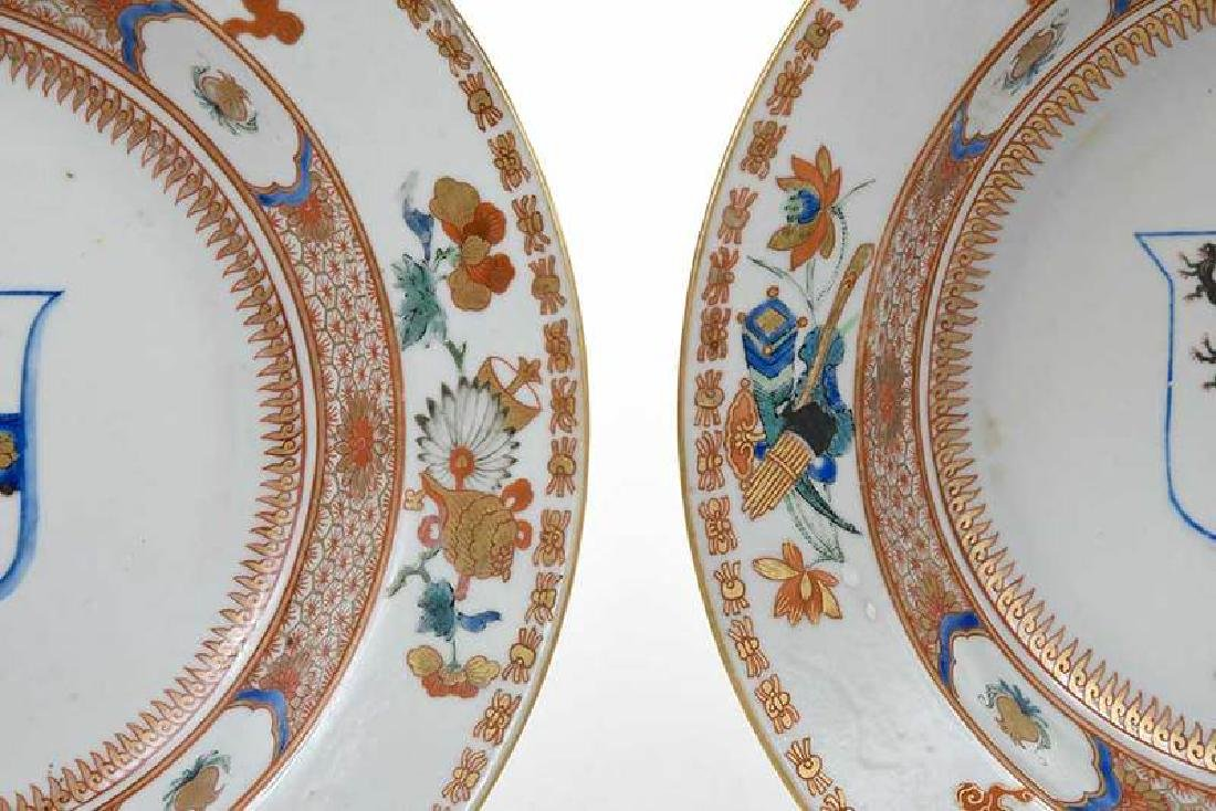 Pair Chinese Export Armorial Soup Bowls - 6