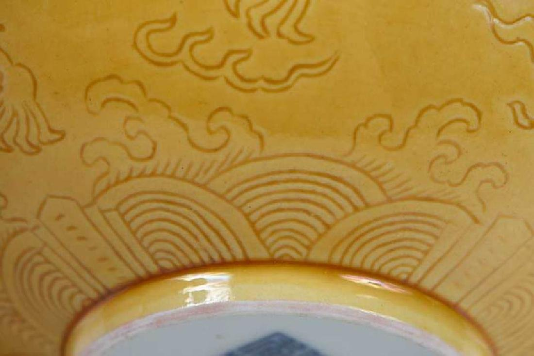 Chinese Yellow Bowl with Walking Dragons - 10