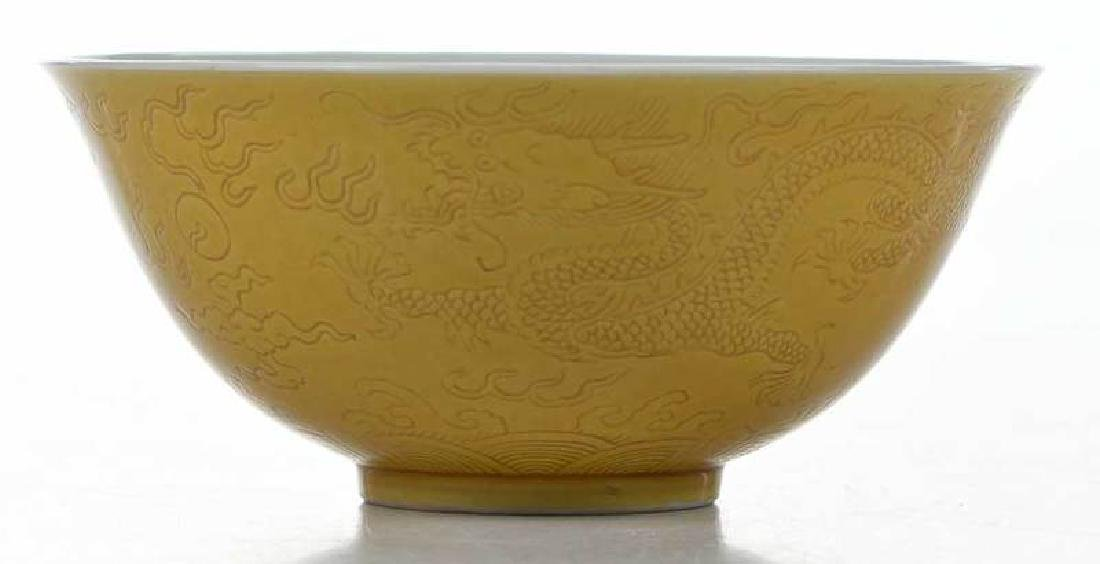 Chinese Yellow Bowl with Walking Dragons - 2