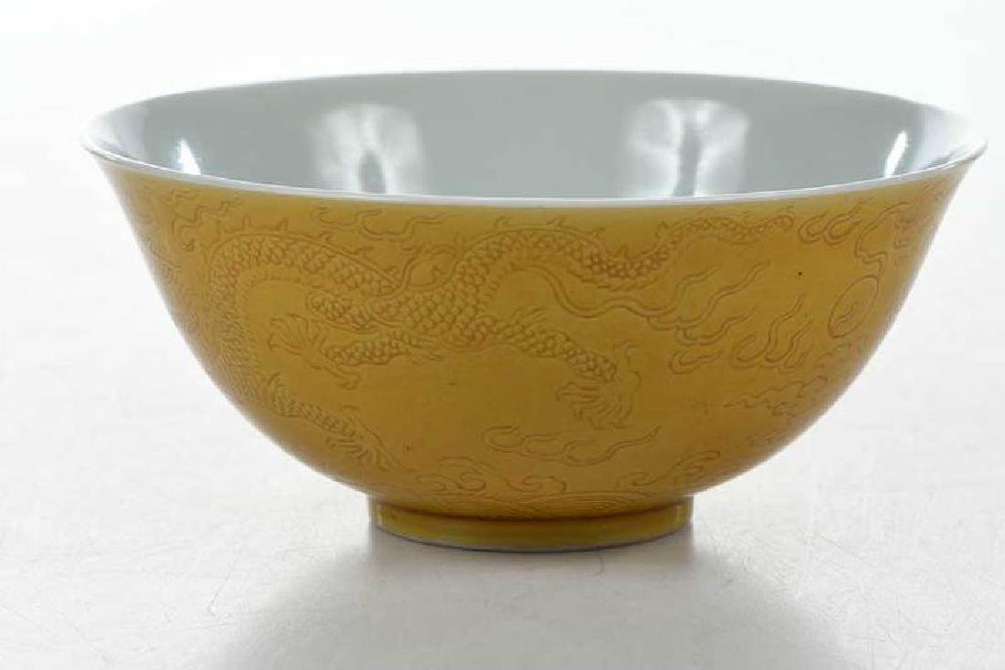 Chinese Yellow Bowl with Walking Dragons - 4
