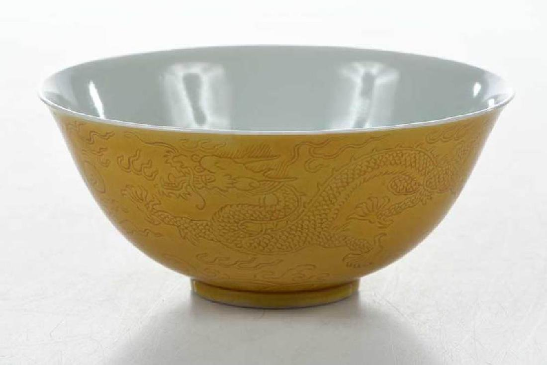 Chinese Yellow Bowl with Walking Dragons - 5