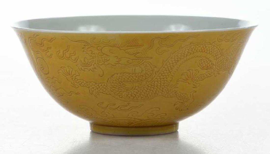 Chinese Yellow Bowl with Walking Dragons - 6