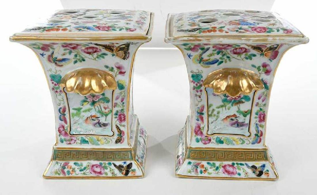 Pair Famille Rose Cachepots with Covers - 4
