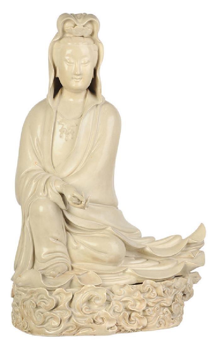 Seated Stoneware Guanyin