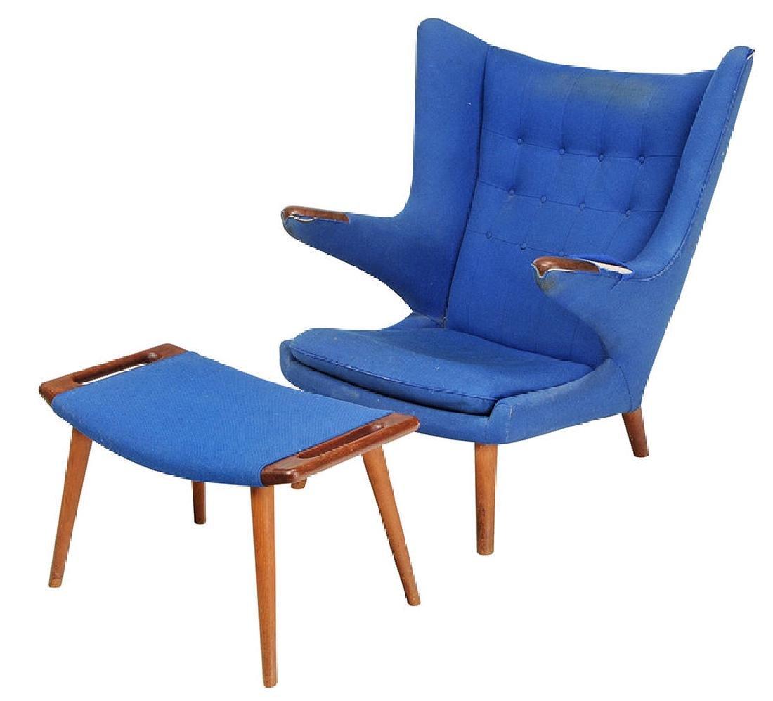 Celebrated Hans Wegner Papa Bear Chair and Stool