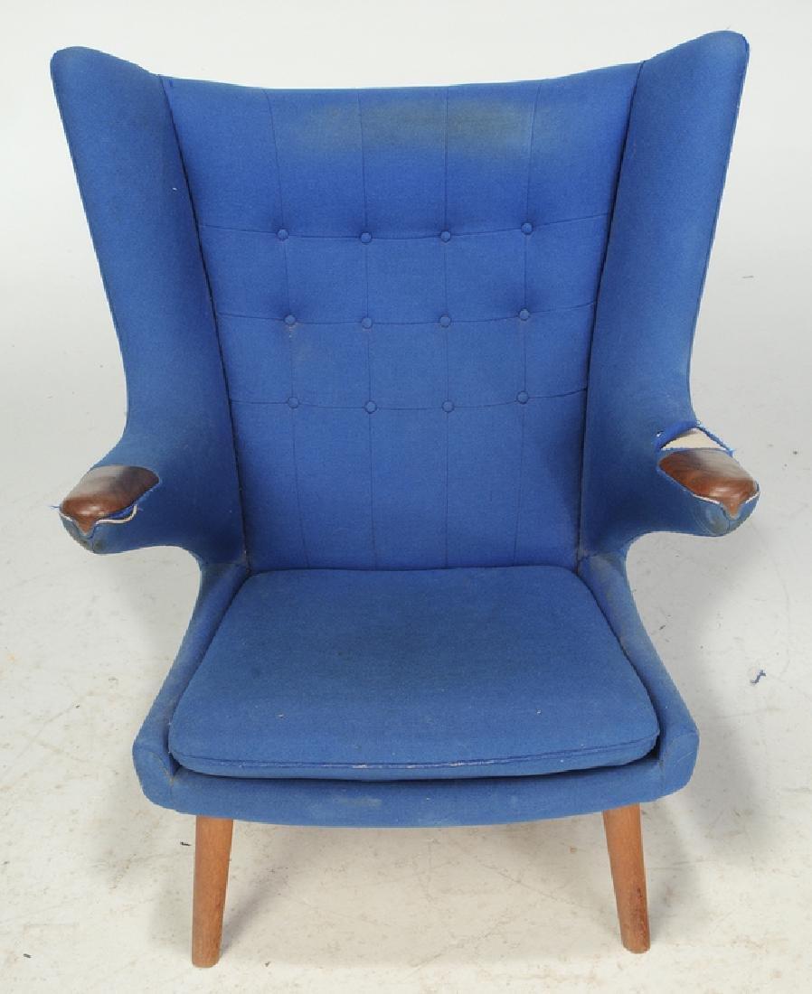 Celebrated Hans Wegner Papa Bear Chair and Stool - 3