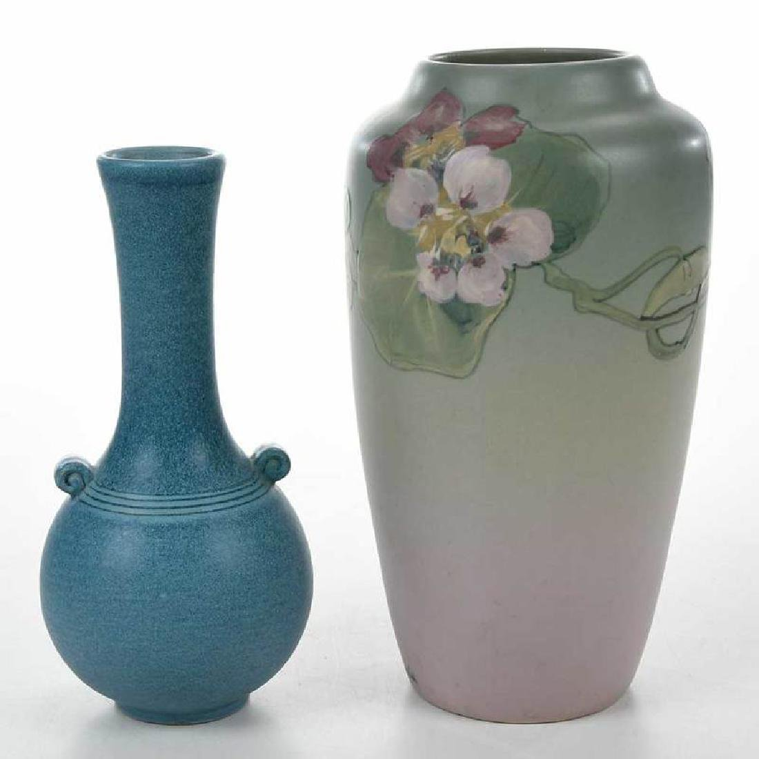 Two Weller Pottery Decorated Vases - 6