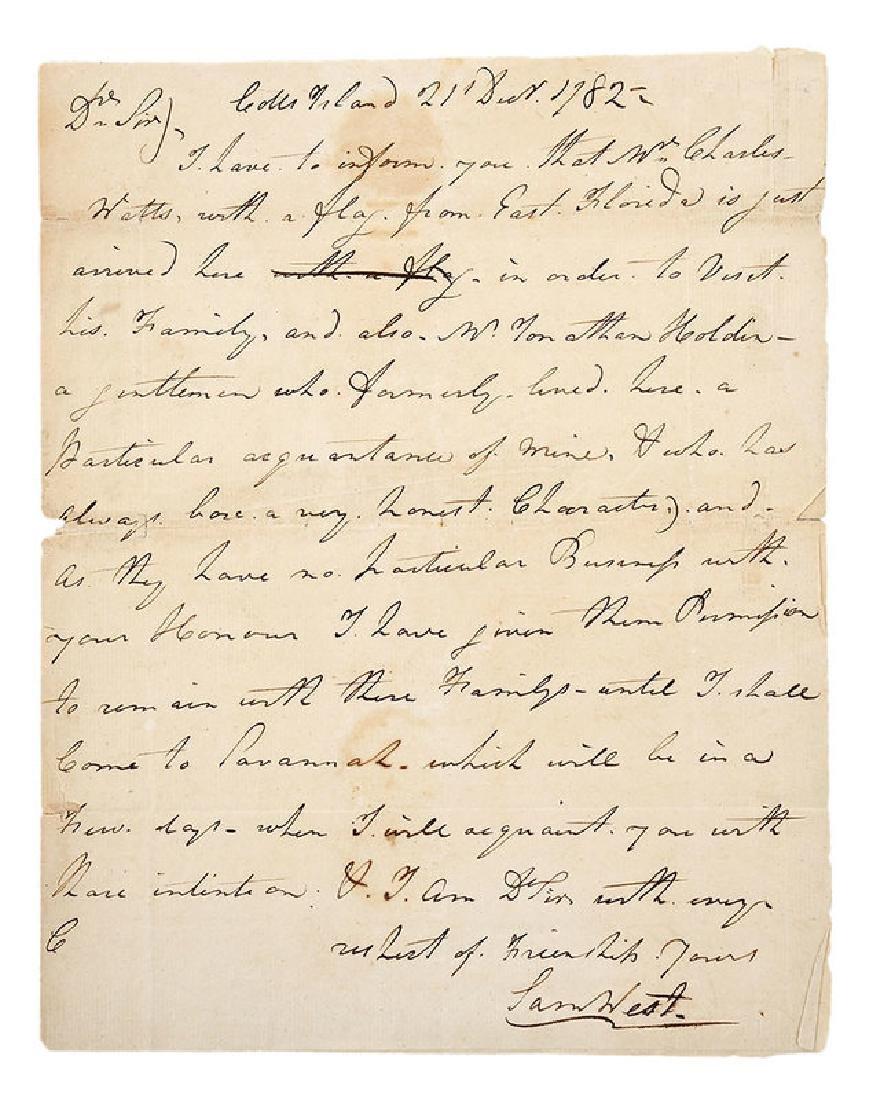 Revolutionary War Era Letter, 1782