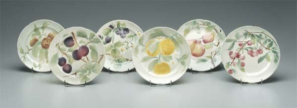 11: Set of French majolica fruit plates: