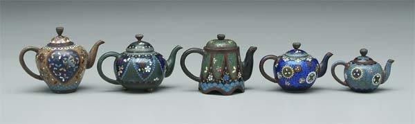26: Miniature cloisonné teapots: