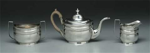 427 Three piece coin silver tea service