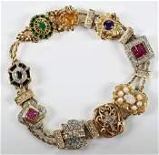 14kt Diamond  Gemstone Slide Bracelet