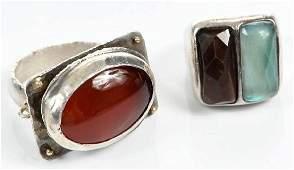 Two Silver Gemstone Rings