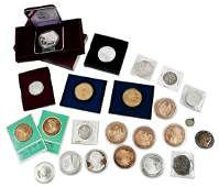 24 Silver and Bronze Coins and Medallions
