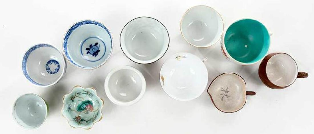 11 Asian Tea Cups with Assorted Carved Stands - 3