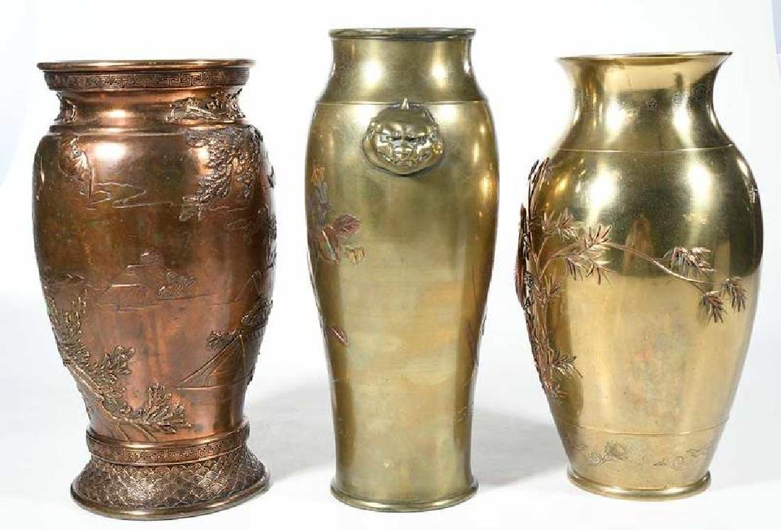Three Japanese Mixed Metal Baluster Vases - 5