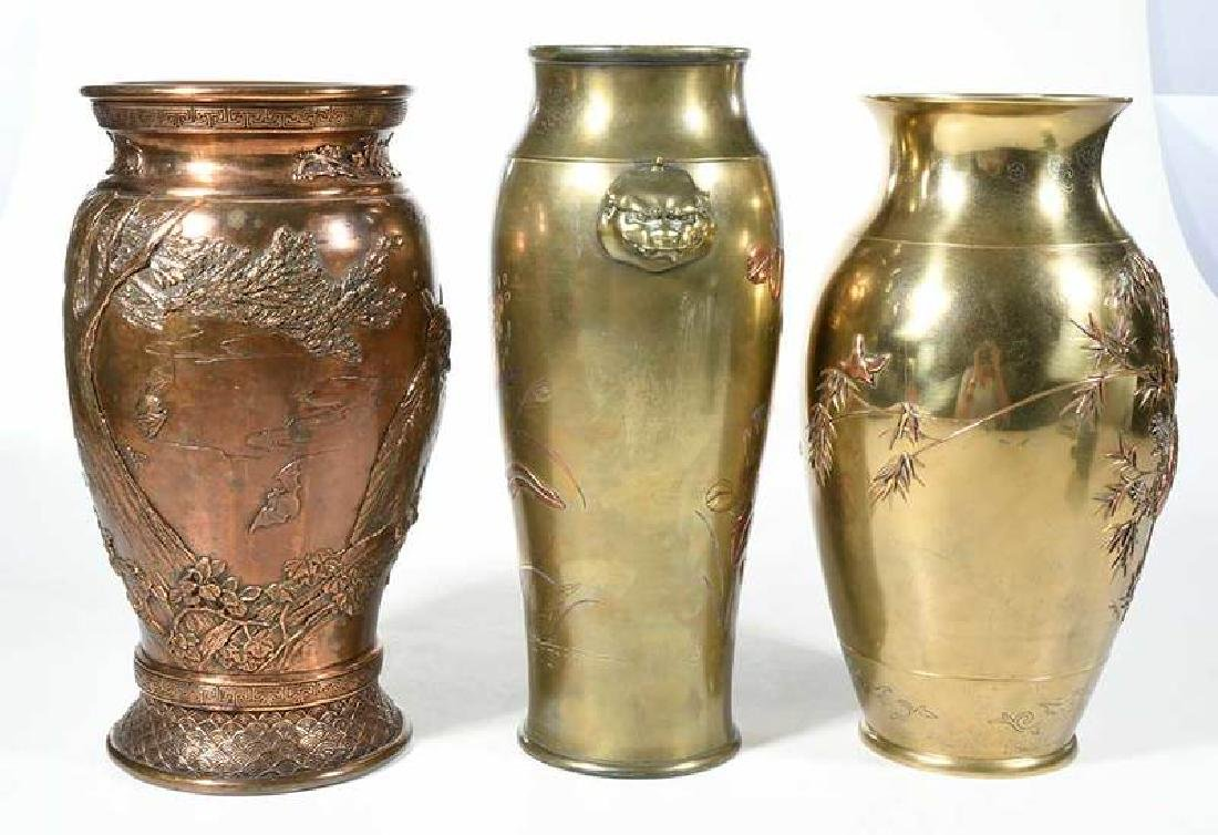 Three Japanese Mixed Metal Baluster Vases - 7