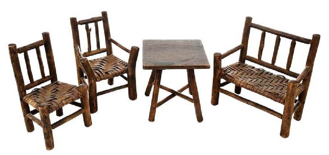 Four Pieces Rustic Miniature Furniture
