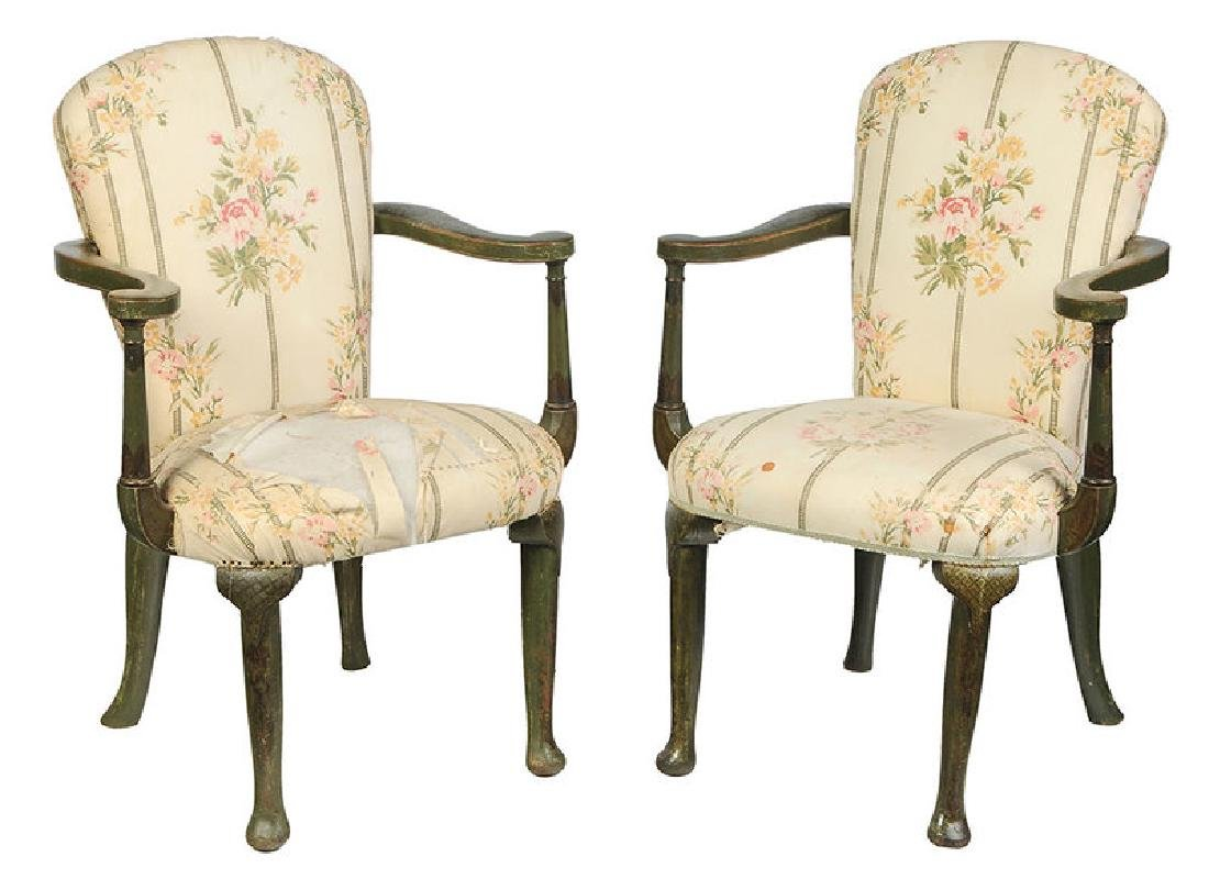 Pair Venetian Style Paint Decorated Arm Chairs