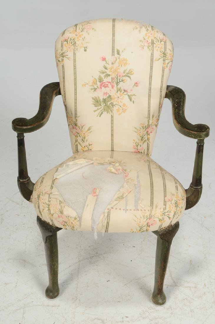 Pair Venetian Style Paint Decorated Arm Chairs - 2