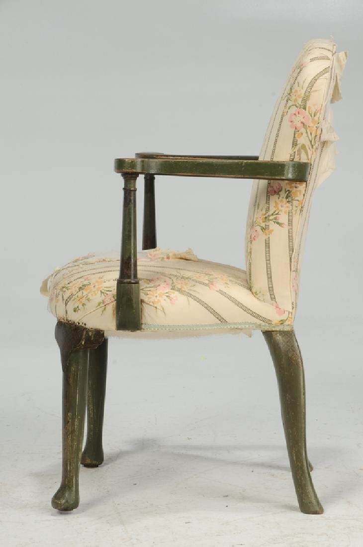 Pair Venetian Style Paint Decorated Arm Chairs - 3