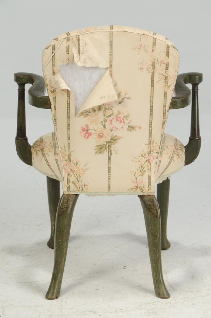Pair Venetian Style Paint Decorated Arm Chairs - 4