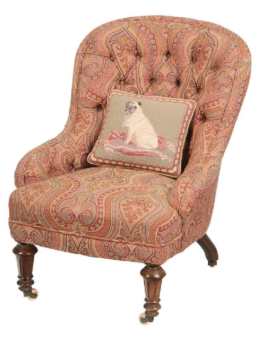 Walnut and Tufted Paisley Slipper Chair