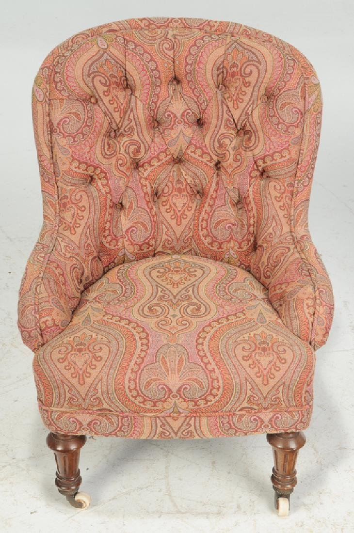 Walnut and Tufted Paisley Slipper Chair - 3