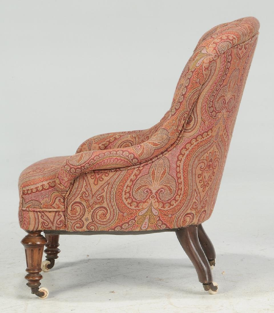 Walnut and Tufted Paisley Slipper Chair - 4