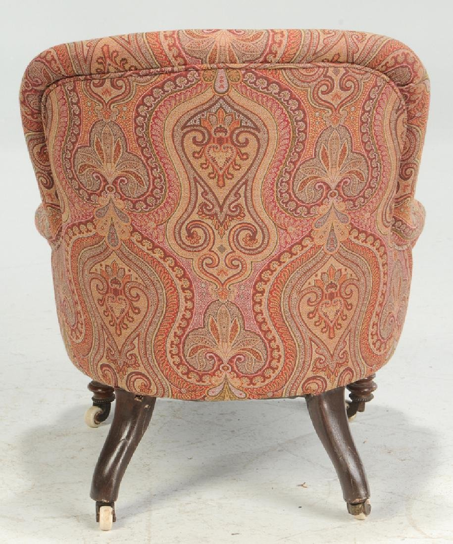 Walnut and Tufted Paisley Slipper Chair - 5