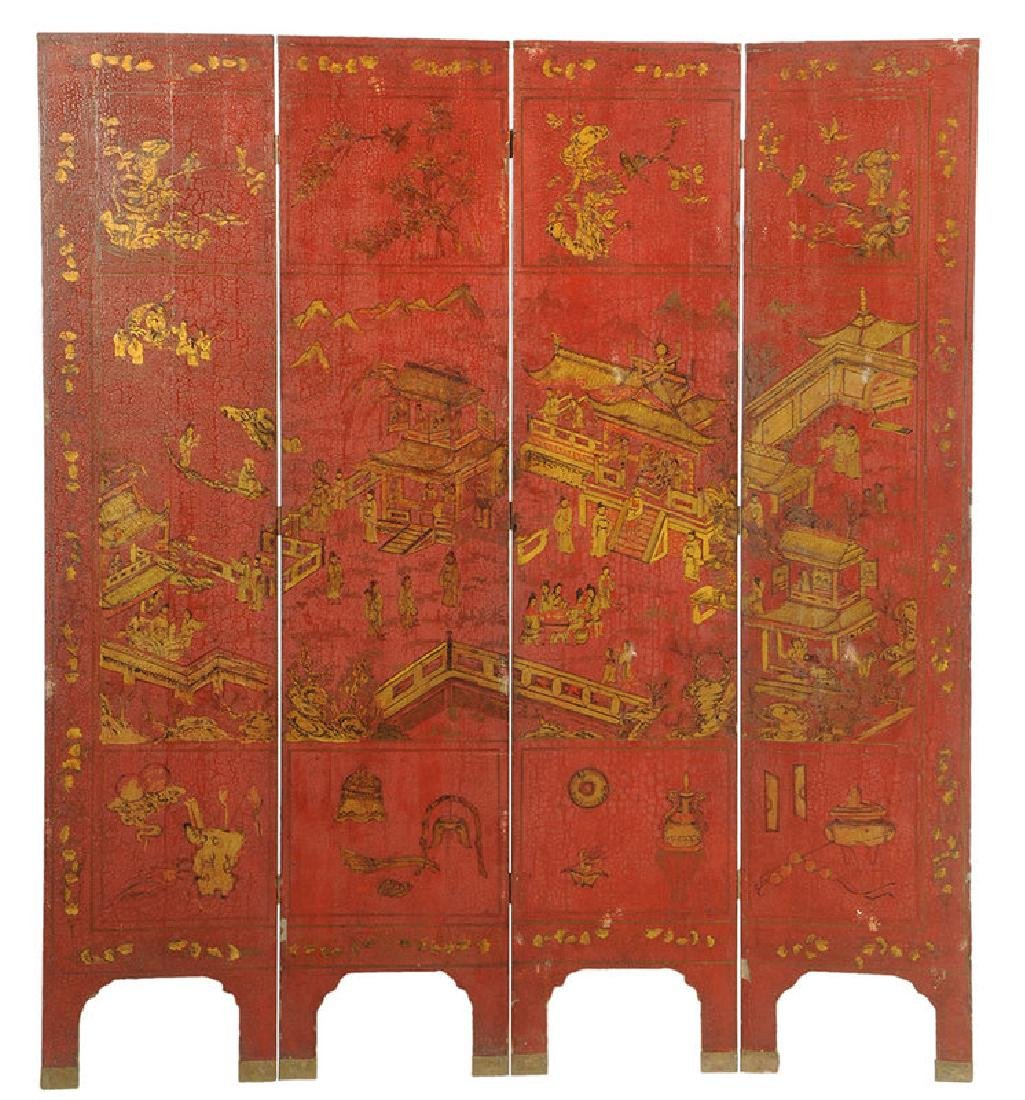 Red Lacquer and Parcel-Gilt Panel Screen