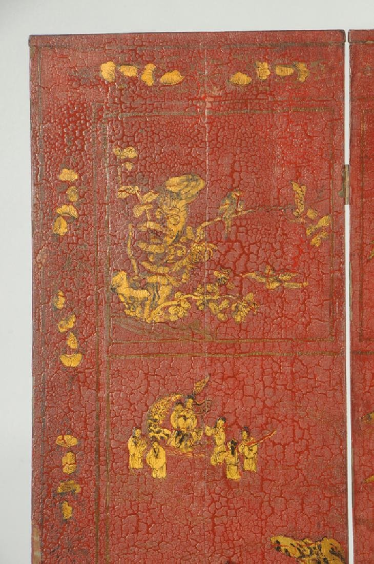 Red Lacquer and Parcel-Gilt Panel Screen - 2