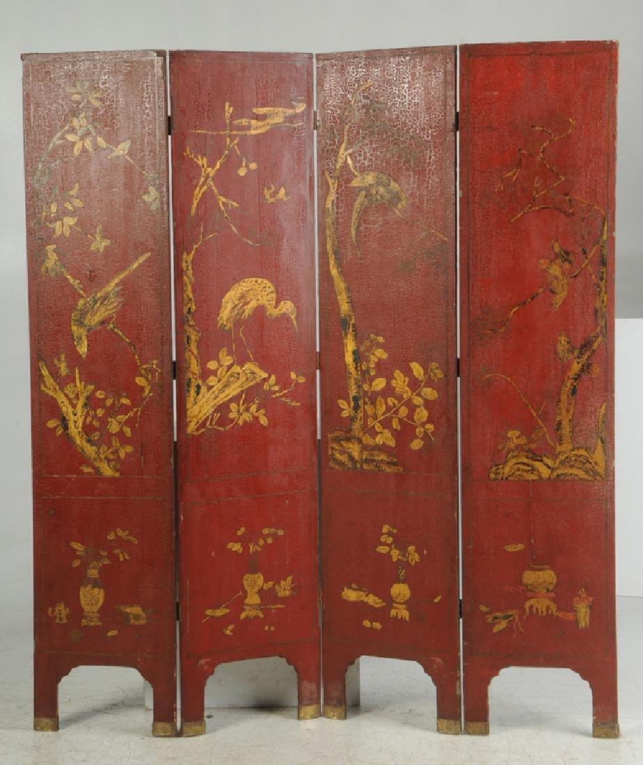 Red Lacquer and Parcel-Gilt Panel Screen - 3
