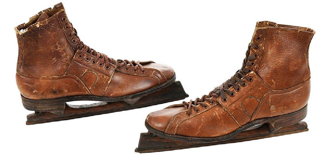 Pair of Leather and Wood Ice Skates